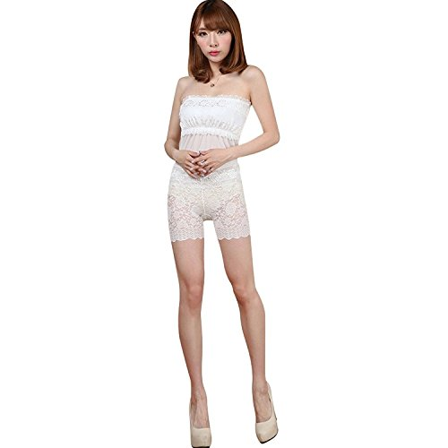 Women Elastic High Waist Lace Shorts White - 6