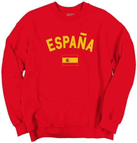 Brisco Brands Spain Flag World Cup Soccer Spanish Espana National Flag Pride Crewneck Sweatshirt