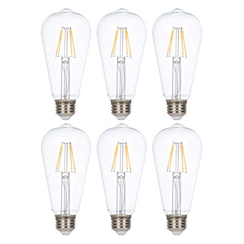 LED Edison Vintage Filament ST21 (ST64) Light Bulbs by Simba Lighting | 4W Dimmable 40W Equivalent Clear Glass Decorative Antique Retro, Standard Medium E26 Base, UL Listed, Warm White 2700K, 6 Pack