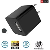 Home Surveillance Charger Camera 1080P Motion Detection Wall Adapter Camera Loop Recording 32Gb Inside