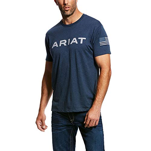 (ARIAT Men's Patriot Ss T-Shirt Navy Heather Size Large )