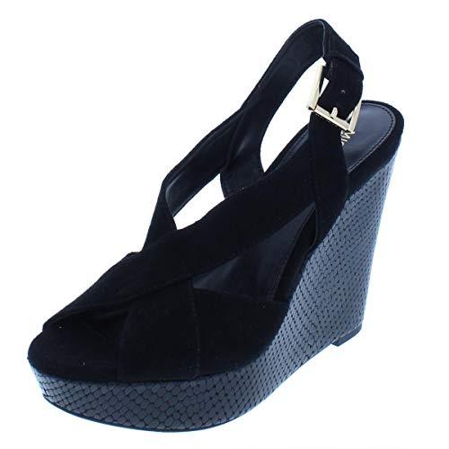 Kors Toe Michael Open Sandals (MICHAEL Michael Kors Womens Becky Suede Suede Open Toe, Black Suede, Size 10.0)