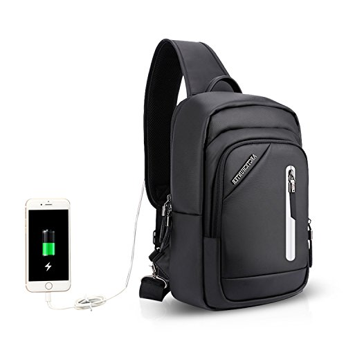 Bandoulière Travers Sling Plein Sac Ecole Port Déséquilibrer Noir Trekking Polyester Air Crossbody Bag À Chest Porté Sacs Cycling Sports Dos Fandare De Hiking Usb vq10dwq