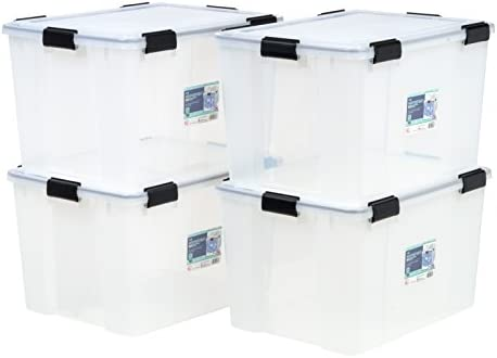 IRIS USA UCB-LDD Weathertight Storage Box, 4 Pack, 74 Quart, Clear