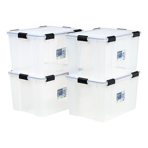 IRIS 74 Quart WEATHERTIGHT Storage Box, 4 Pack, Clear ()
