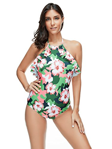 Beauty Collector Camo Floral Print Swimsuit One Piece Women Pink Chic Ruffle Bathing Swimwear - Floral Collector