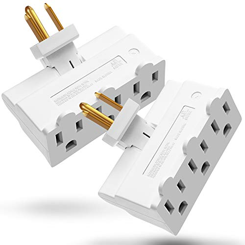 (3 Outlet Wall Adapter (2 Pack), Fosmon ETL Listed 3-Prong Swivel Grounded Indoor AC Mini Plug Wall Outlet Extender Tap - White)