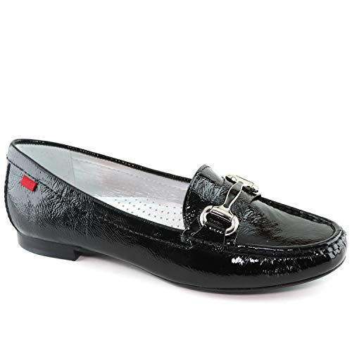 Women?? Genuine Leather Made in Brazil Grand Street Black Tumbled Patent Buckle Loafer 10.5