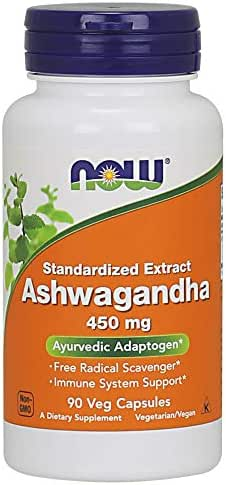 NOW Supplements, Ashwagandha (Withania somnifera)450 mg  (Standardized Extract), 90 Veg Capsules