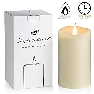 Luxury 3D FLAMELESS Candles Flickering - 800+ Hours Gorgeous Moving Flame with Bright White Flicker - 360 Degree Real Wax Pillar Battery Operated Candles with Timer; LED (Ivory, 3x5 inches) Unscented