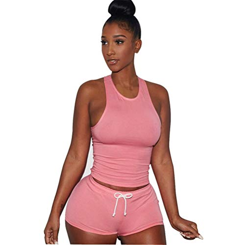 (OVERMAL Women 2 Piece Set Sleeveless Split Casual Short Pants Casual Outfit Sportswear (M, Pink))