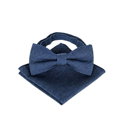Hello Tie Men's Denim Bow Tie and Handkerchief Set - Blue