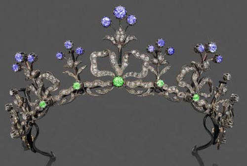 - costozon Queen Crown 10.05 Cts Rose Cut Diamond Peridot Sapphire Antique Victorian Look 925 Sterling Silver Crown