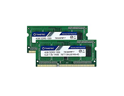 Timetec Hynix IC 8GB Kit (2x4GB) DDR3 1333MHz PC3-10600 Non ECC Unbuffered 1.5V CL9 1Rx8 Single Rank 204 Pin SODIMM Laptop Notebook Computer Memory Ram Module Upgrade(High Density 8GB Kit (2x4GB))