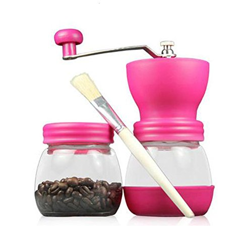 Grinder Peach Coffee (WAYERTY Glass Coffee mill grinder, Manual grinders Household Hand grind Coffee bean grinder Can be washed Send brush-Peach red)