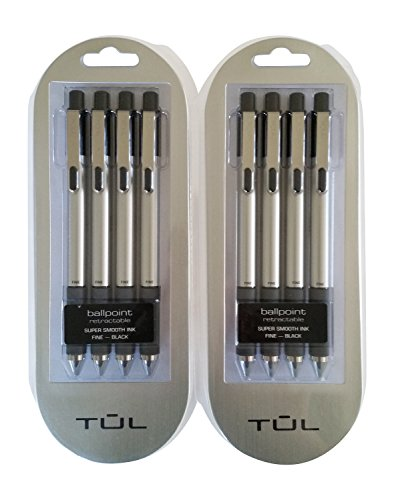 TUL BP3 Ballpoint Retractable Pens Super Smooth Fine 0.8mm, Black Bundle (2 4-packs)