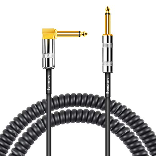 - Bermunavy 10 ft Coiled Guitar Cable - 1/4 inch Right Angle to Straight High Elasticity Guitar Cord Instrument Curly Cable for AMP Electric Guitar Bass Professional Audio Keyboards - Black