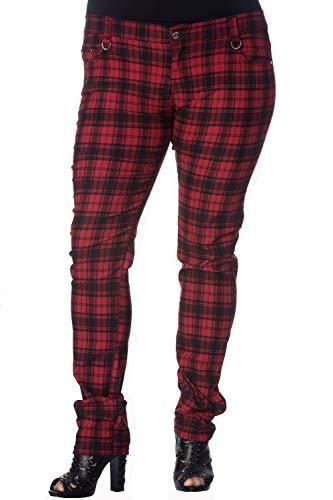Lost Queen Women's Plus Punk Rock Funky Red Plaid Tartan Check Skinny Jeans -