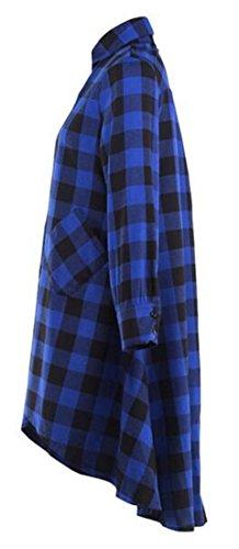 Donne Blu Manicotto Cromoncent Tunica Pieghettato Libero Irregolare Lungo Accoppiamento Vestito collo V wpSWqwRTrB