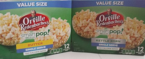 Smart Pop Kettle Korn/Smart Pop Butter 12 Single Serve 100 calorie bags (24 - Pop Smart Orville