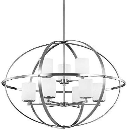 Sea Gull Lighting 3124609EN3-962 Alturas Nine-Light Chandelier Hanging Modern Fixture, Brushed Nickel Finish