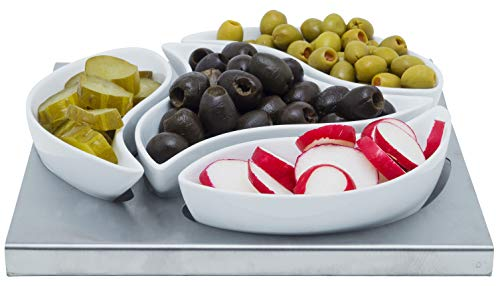 (White Ceramic Appetizer Condiment Relish Serving Bowl Set of 4 With Stainless Steel Tray (Modern Curve))