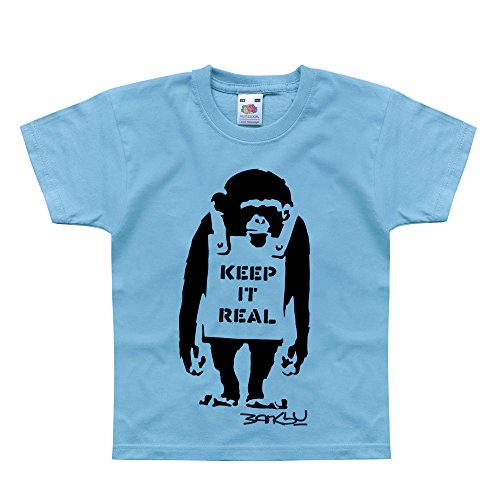 Nutees Banksy Keep It Real Monkey Art Unisex Kids T Shirts - Light Blue 1/2 - Light Hope T-shirt