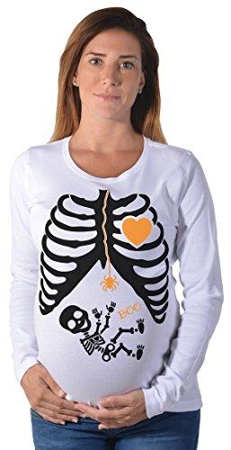 Tstars Funny Skeleton Halloween Easy Costume Maternity Long Sleeve Shirt Large White ()
