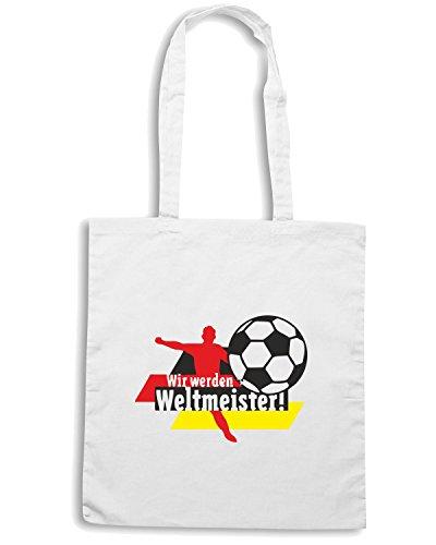 T-Shirtshock - Bolsa para la compra WC0651 Wir werden Weltmeister! (Germany) Blanco