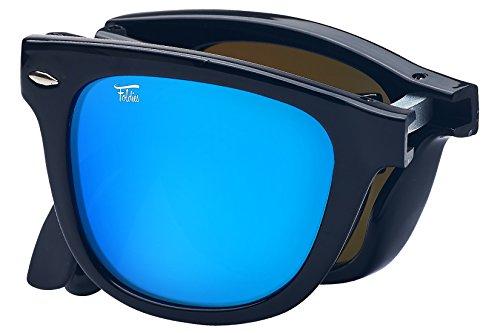 (Foldies Gloss Black Folding Sunglasses with Polarized Blue Mirror)