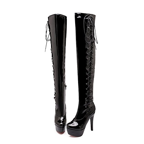 Non Boots Curves Closed WeiPoot and Slipping Patent Black Leather Sole Style Solid with Women's toe rYTSwTFPq