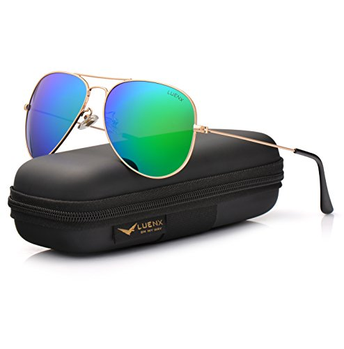 LUENX Aviator Sunglasses for Men Women Polarized Green Mirrored Lens Metal Frame UV 400 Protection with Case Classic Style ()