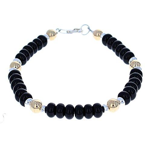 (Timeless-Treasures Black Onyx, 14K Gold Filled & Sterling Silver Men's Beaded Bracelet (Handmade in USA) - 8