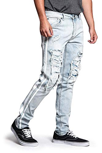 - Victorious Men's Distressed Double Striped Skinny Underlayered Ripped Jeans DL1140 - Light Indigo/White - 32/32 - B3F