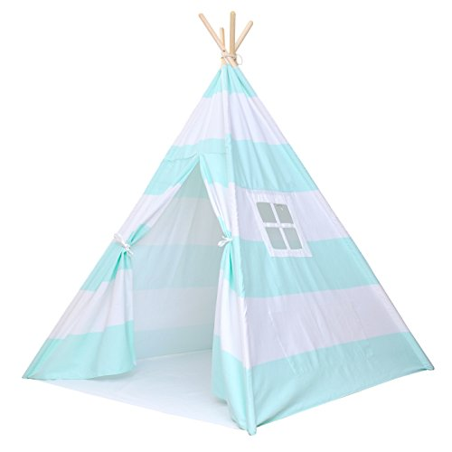 Kids Teepee Tent for Kids, No Toxic Chemicals Added, Carrying Case, Mint Play Tents Indoor for Boys & Girls, Large Enough Tipi for Toddler Dog Baby Boy Adult Children Adults Dogs Childs Reading Nook