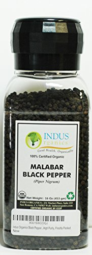 Indus Organics Malabar Black Peppercorns, 16 Oz Jar Grinder, Premium Grade, High Purity, Freshly Packed