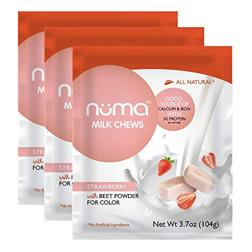Healthy Strawberries and Cream Candy, Low Sugar, Low Calorie Natural Chewy Snack, 3g Protein, Gluten Free, 3 bags with 24 individually wrapped chews -