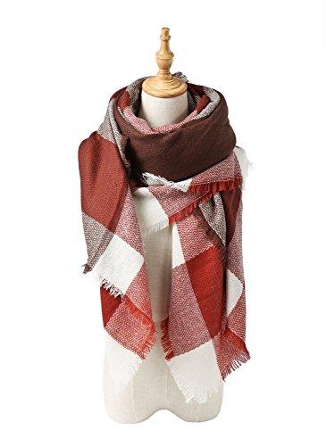 Menglihua Soft Classic Plaid Tartan Cashmere Feel Large Blanket Scarf Wrap Shawl