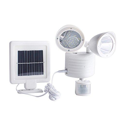 TechKen Solar Security Light Dual Head Solar Motion Sensor 22 LED Waterproof Outdoor Lamp Light Bright White Garden Light (Adjustable) (White)