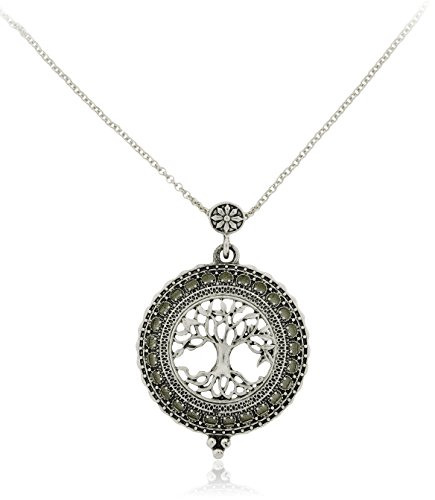 Tree of Life Necklace with Reading Magnifying Glass (Silver)