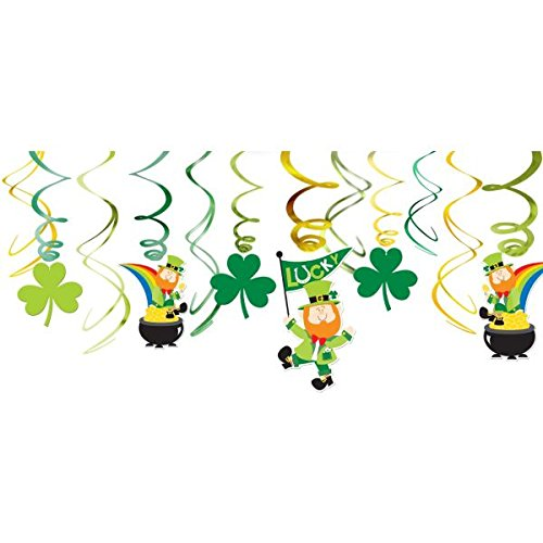 Amscan St. Patricks Day Green Foil Swirls, Value Pack, 12 Ct. | Party Decoration