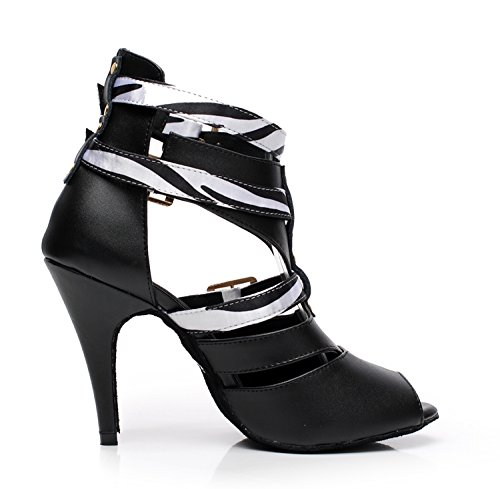 Ballroom Buckle Black Latin Ankle GQJ6178 5 Womens UK Sandals Boots Ankle M Leather Strap White MINITOO Dance 2 qwSE8gzz