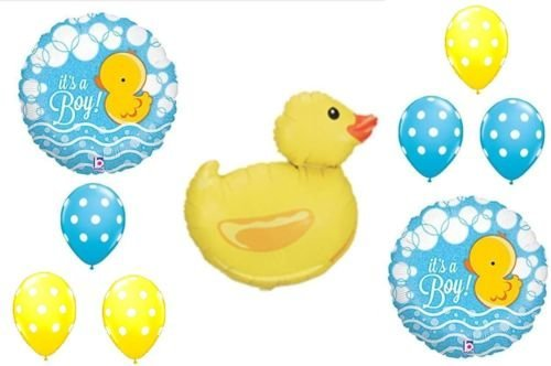 LoonBalloon DUCK Rubber Blue Yellow Polka Dots It's a BOY BABY Shower Mylar & Latex -