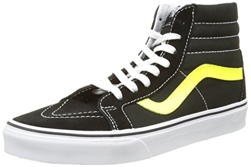 Vans Unisex Sk8-Hi Reissue Skate Shoes-Black/Neon Yellow-10.5-Women/9-Men (Vans Woman Neon)