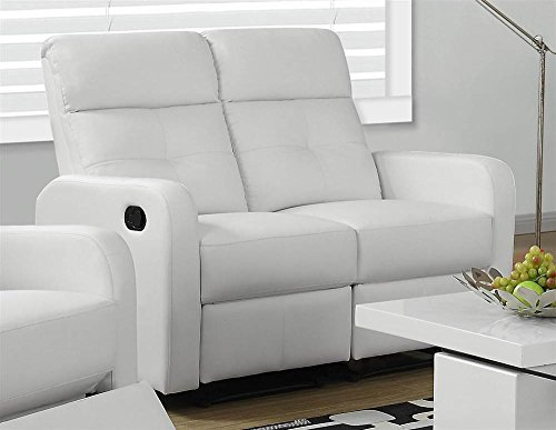 Monarch Specialties Reclining Love Seat in White Bonded Leather