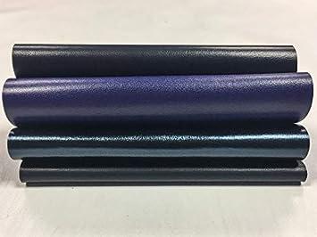 NAVY BLUE Lambskin Sheet Set of Navy Blue Leather Scraps Blue metallic 5x5 inch
