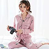 Junson Sleepsuits Women's Cotton Long-Sleeved Pajamas Spring and Summer Pink Cartoon Home Service Suits (Size : XXL) for You (Size : Medium)