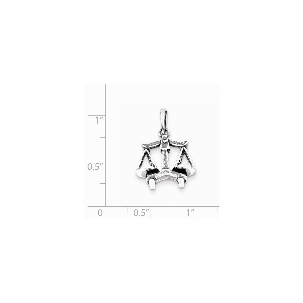 18mm x 20mm Jewel Tie 925 Sterling Silver Antiqued-Style Libra Pendant