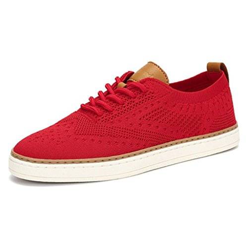- TRULAND Women's Lace Up Elegant Low Top Knit Fashion Sneakers Tennis Flats Shoes Espadrille (9 D(M) US,Red)