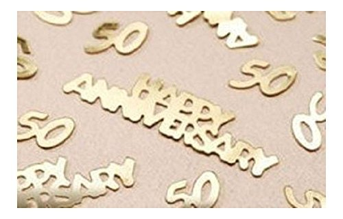 Wedding Party Gold 50th Anniversary Confetti For Decorations Table ()